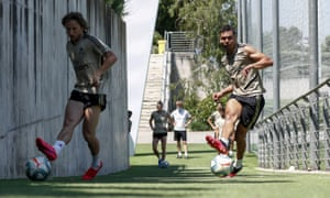 Casemiro training with Luka Modric in May as Real Madrid prepare to return to action.