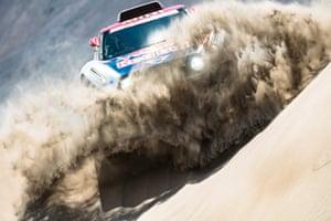 Stage 6: Arequipa to San Juan de Marcona, Peru Cyril Despres of X-Raid Mini JCW Team blasts through a sand dune