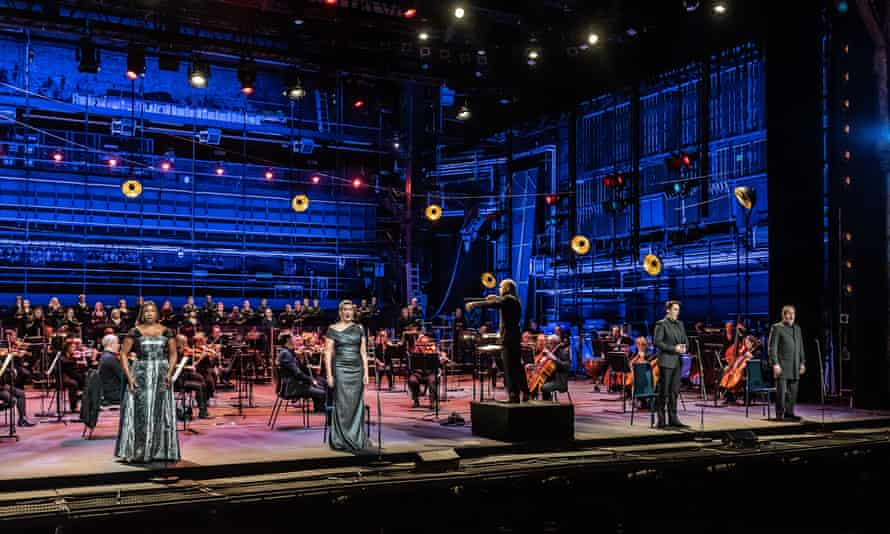 Elizabeth Llewellyn, Sarah Connolly, Ed Lyon and Gerald Finley, conductor Mark Wigglesworth and the choir and orchestra of English National Opera performing Mozart's Requiem at the Coliseum.