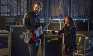 Peter Cambor as Milo and Keisha Castle-Hughes as Donna in Roadies