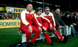 Joe Fagan, third left, with the Liverpool boot room once he became manager.