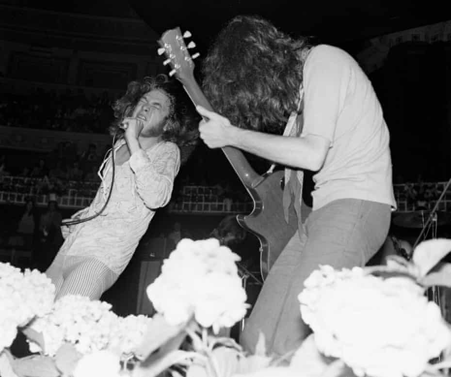 Grooving … Led Zeppelin's Robert Plant, left, and guitarist Jimmy Page in 1969.