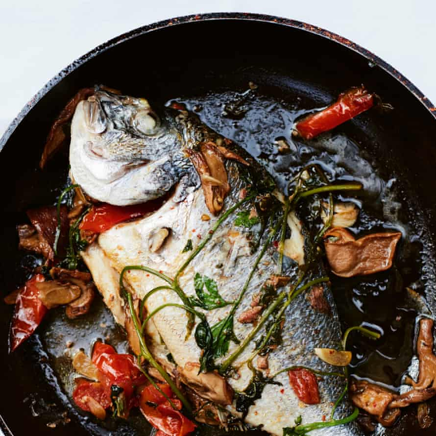 Bream in a pan.