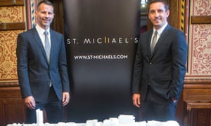 Ryan Giggs, left, and Gary Neville unveil their proposed Manchester development in July 2016.