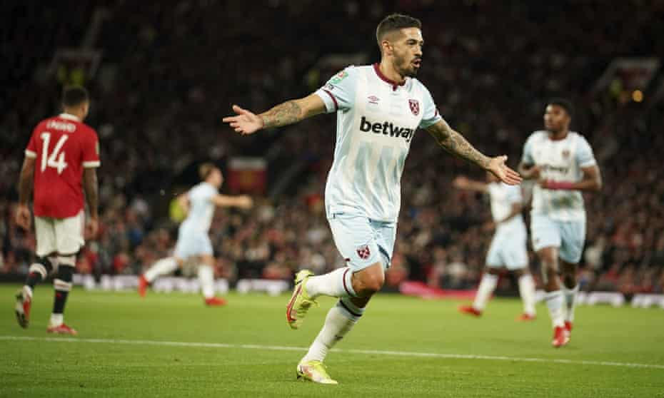 Manuel Lanzini of West Ham celebrates his goal in the visiting side's victory at Old Trafford.