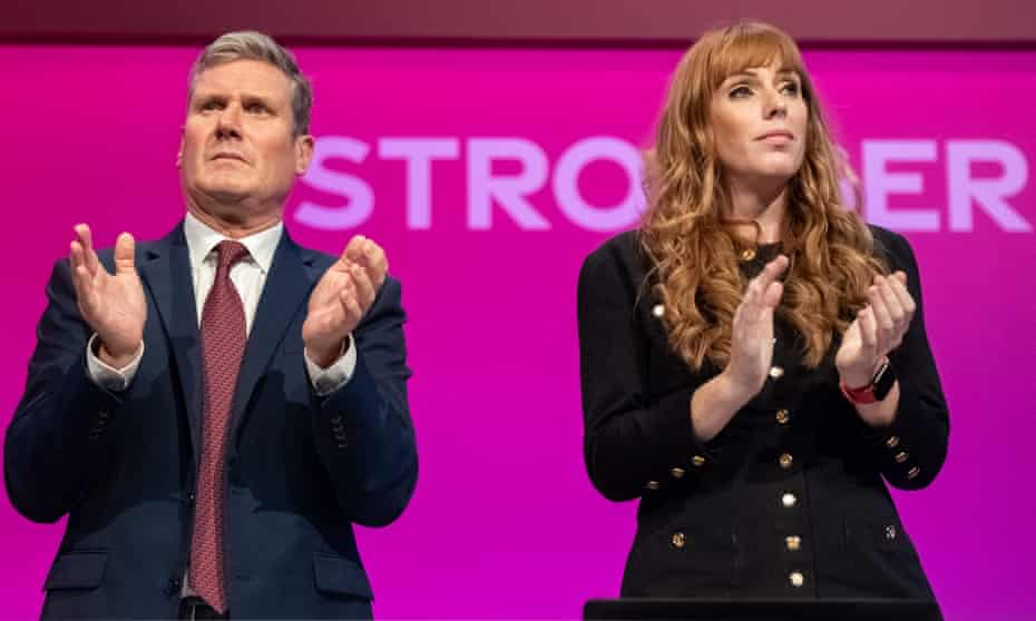Different directions: Keir Starmer, leader of the Labour party, and Angela Rayner, deputy leader.