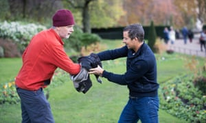 'Don't run from a dog – they're chase animals' … Wollaston and Grylls in action.