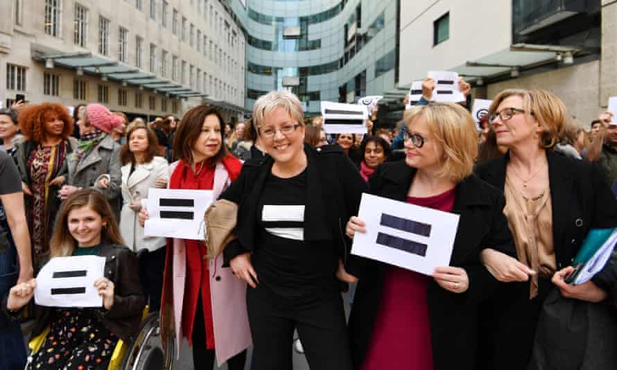 Marching for equality: Carrie Gracie and BBC employees gather outside Broadcasting House in London to highlight equal pay on International Women's Day.