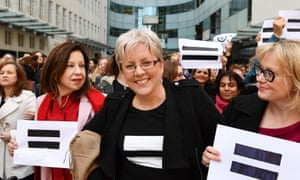 Carrie Gracie, centre, and BBC employees gather outside Broadcasting House in London to highlight equal pay in 2018.