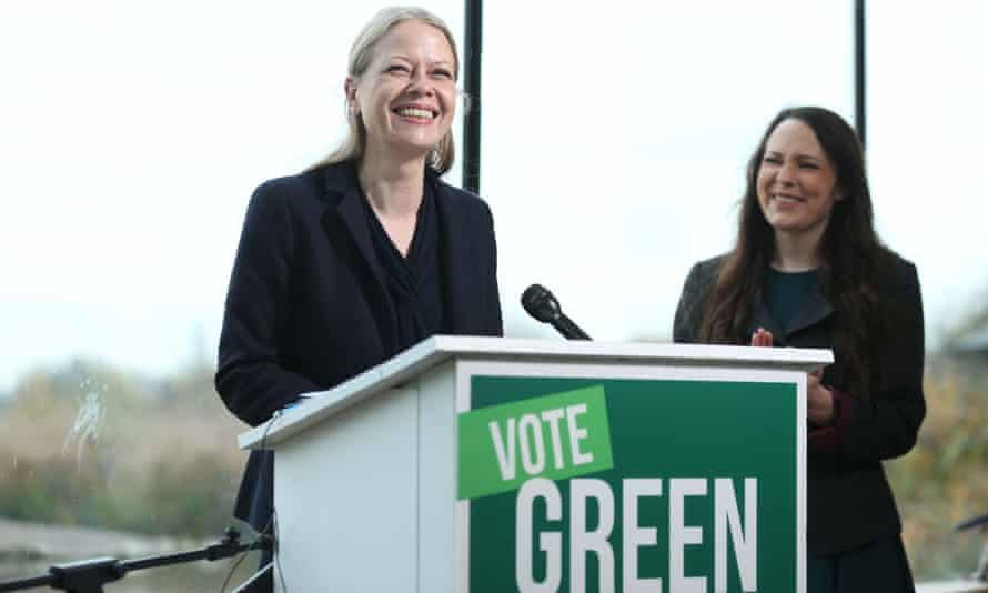 Green party co-leader Sian Berry (left) and deputy leader Amelia Womack at launch of the party's 2019 manifesto