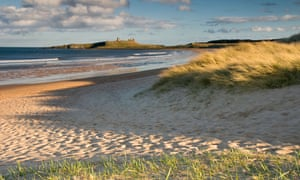 Embleton Bay with Dunstanburgh Castle in the distance.