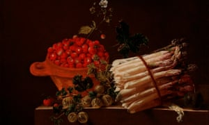 Still Life With a Bowl of Strawberries, a Spray of Gooseberries, Asparagus and a Plum by Adriaen Coorte