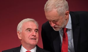 The Labour party leader Jeremy Corbyn, right, and shadow chancellor John McDonnell.