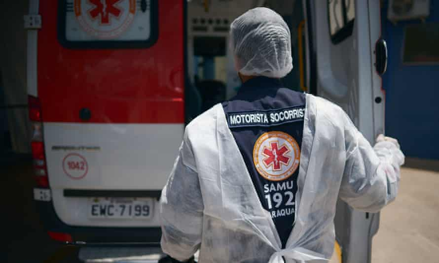 Emergency services at work during the Covid lockdown in São Paulo, Brazil. The city has increased restrictions to contain the pandemic.