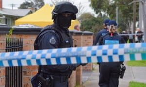 Police raid an address in Braybrook, Melbourne on Saturday 6 August 2016.