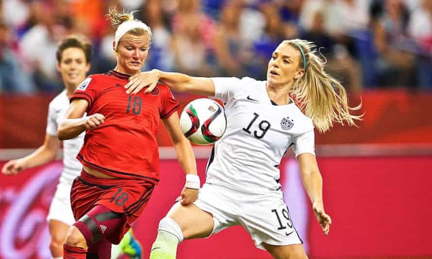 Germany's forward Alexandra Popp in action against USA's defender Julie Johnston.