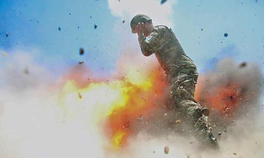 In Hilda Clayton's final image, a mortar tube accidentally explodes during an Afghan national army live-fire training exercise.