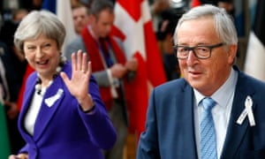 Theresa May with European commission president Jean-Claude Juncker, Brussels, March 2018