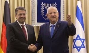 German foreign minister Sigmar Gabriel (left) with Israel's president, Reuven Rivlin, in Jerusalem