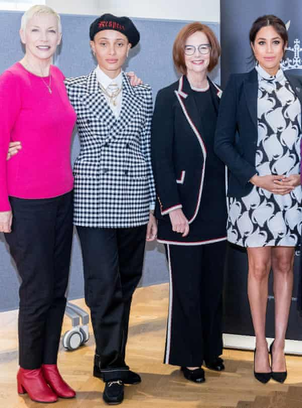 Adwoa Aboah, Annie Lennox, Julia Gillard and Meghan, Duchess of Sussex, at an International Women's Day Queen's Commonwealth Trust panel discussion, King's College, London, UK, on 8 March 2019