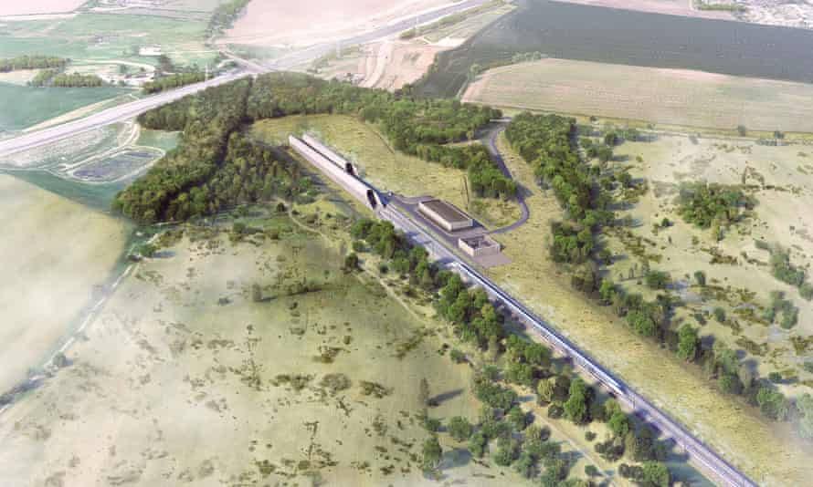 Architect's impression of how the HS2 rail tunnel will be integrated with the Colne Valley Western Slopes.