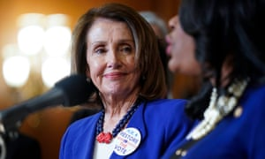 Nancy Pelosi on Capitol Hill on 26 February. For now the measure is a mostly symbolic gesture, not likely to be taken up in the Republican-controlled Senate.