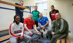 Back row, left to right: Chris Weale of Exeter City, Gary Sawyer of Plymouth Argyle and Troy Brown of Exeter City, with Alvin, Ian, James and Ali.