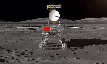 A computer-generated image of the Chang'e 4 rover on the lunar surface
