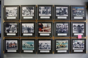 Photographs of the different teams of smokejumpers over the years hang on the wall at the base. Smokejumpers are known for their emotional calm and mental alertness, says the base manager, Knute Olson, (not pictured). 'If you're easily excitable, you're probably more prone to make mistakes during your initial parachute training,' he adds.