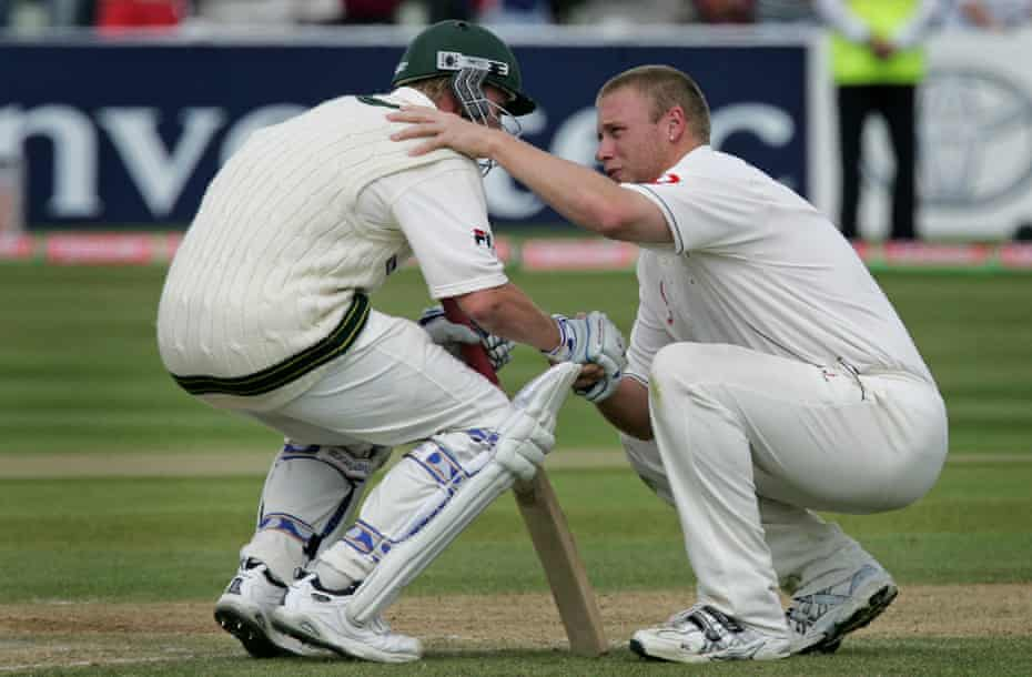 Andrew Flintoff consoles Brett Lee after England win the second Ashes Test match of 2005 at Edgbaston.