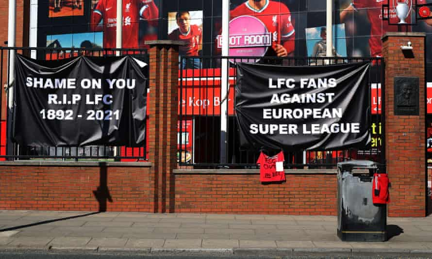 Banners outside Anfield