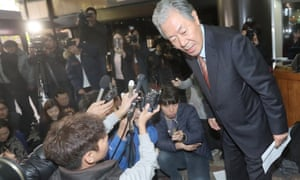Lee Kyung-jae, lawyer for Choi Soon-sil, leaves after a news conference in Seoul