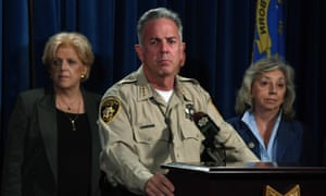 The Clark County sheriff Joe Lombardo, flanked by Las Vegas's Mayor Carolyn Goodman, left, and US representative Dina Titus, speaks during a news conference on Tuesday.