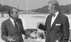 Daniel Patrick Moynihan, presidential urban affairs adviser, and President Richard Nixon, seen in 1970.