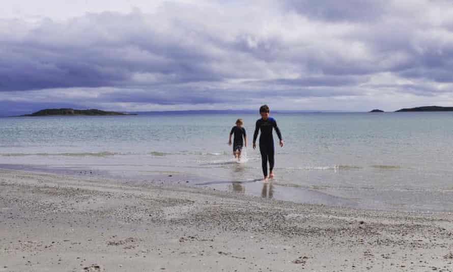 Kirtseen McSwein's children braving the sea on Jura.