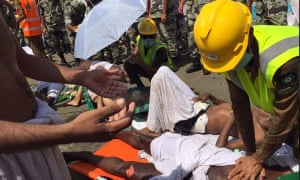 Rescuers attend to people injured in the stampede during the hajj.