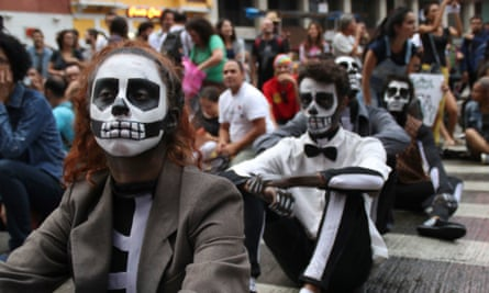 Artists protest culture funding cuts in Brazil.