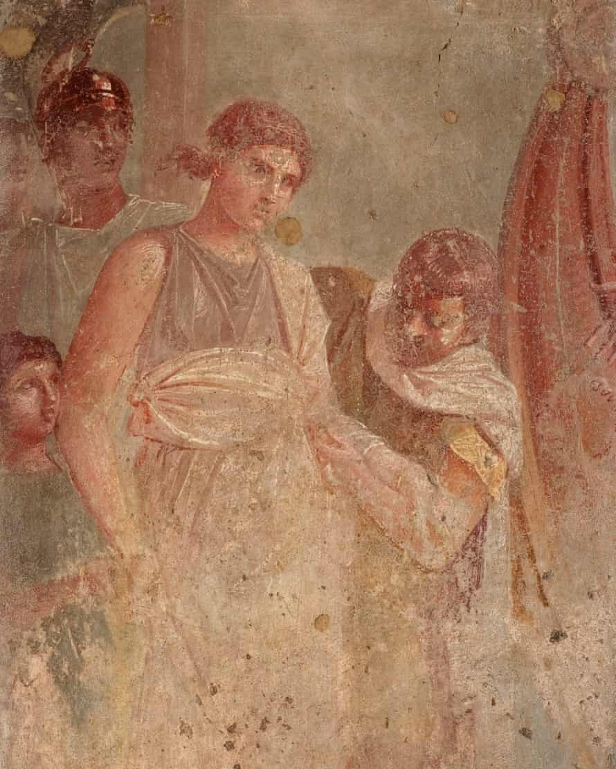 Wall painting, AD45-79 (detail), depicting Helen, led by a servant, leaving Sparta for Troy.