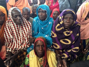 Internally displaced women living in a camp in Dikwa, in north-east Nigeria