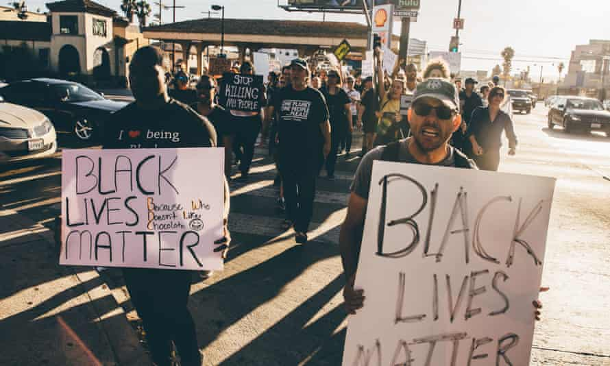 Black Lives Matter supporters demonstrate in Los Angeles.