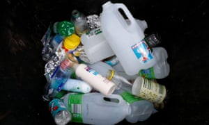 FILE PHOTO: Plastic bottles and containers are seen in a domestic recycling bin in Manchester, Britain, November 20, 2018. REUTERS/Phil Noble/File Photo