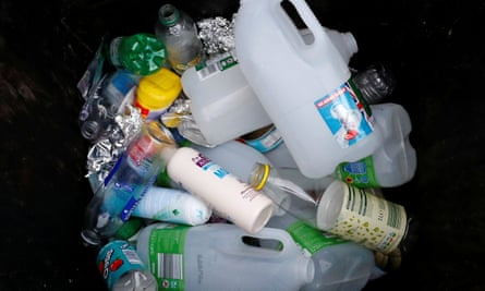 Domestic plastic waste for recycling.
