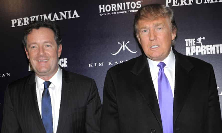Piers Morgan stands alongside Donald Trump in 2010 at a party for US television show The Apprentice.