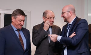 Belgian Prime Minister Charles Michel (right) is reported to have refused to accept the resignation of Interior Minister Jan Jambon (left) and Minister of Justice Koen Geens (centre).