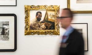 阿尔玛 - 塔德玛(Alma-Tadema)在弗里斯博物馆(Fries Museum)绘制他的雕刻家LeopoldLöwenstam