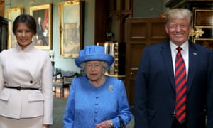 Donald Trump with the Queen and the first lady, Melania Trump, on his last UK visit in 2018.