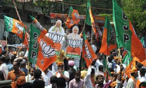 Supporters of Narendra Modi's Bharatiya Janata Party (BJP) at a celebration rally, 24 May 2019.