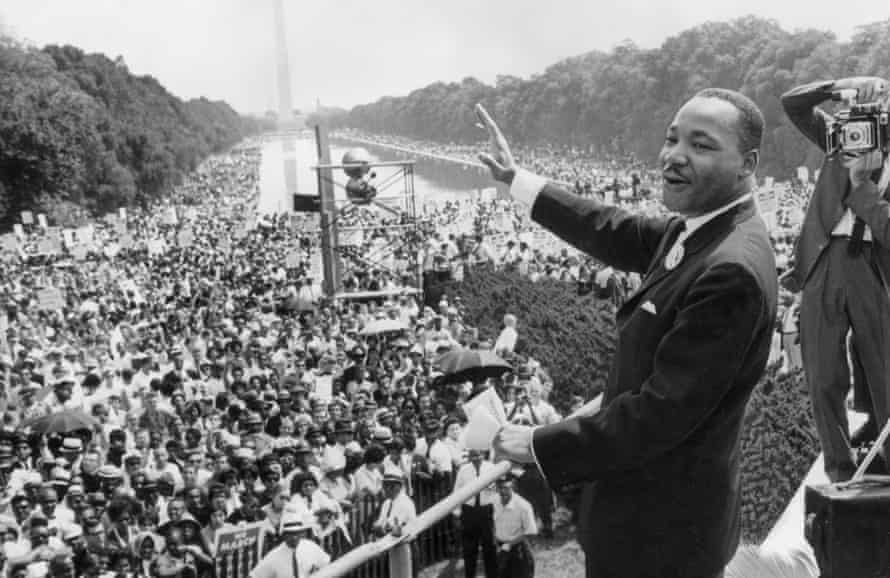 American civil rights activist Dr Martin Luther King Jr addresses a large crowd gathered at the Lincoln Memorial, Washington, DC, August 1963.