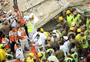 This image from 2006, shows the aftermath of the collapse of an eight-storey building being used as a hostel near the Grand Mosque, the day before the hajj began.