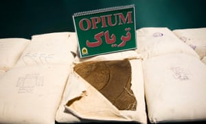 Confiscated opium is seen on display